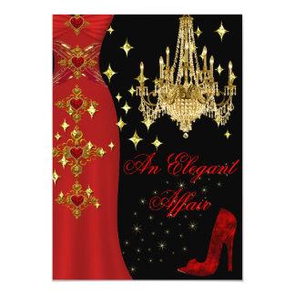 Elegant Affair Red Dress Gold Chandelier Birthday Card