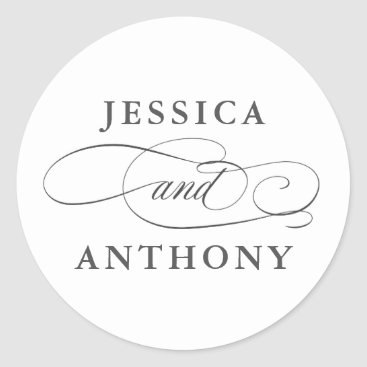 Bride Themed Elegant Affair with Couple's Names Classic Round Sticker