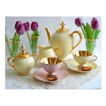 Coffee Themed Elegant Afternoon Tea/Coffee Postcard