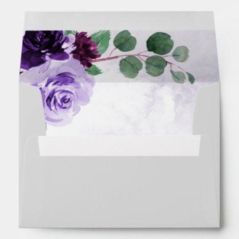 Elegant Airy Boho Floral Purple and Silver Wedding Envelope