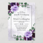 """Elegant Airy Boho Floral Purple and Silver Wedding Invitation<br><div class=""""desc"""">Features eucalyptus sprigs and other botanical leaves over a printed silver border that's also decorated with elegant peonies,  roses and other floral elements in various light and dark shades of purple.  The background is a dusty purple watercolor wash.</div>"""