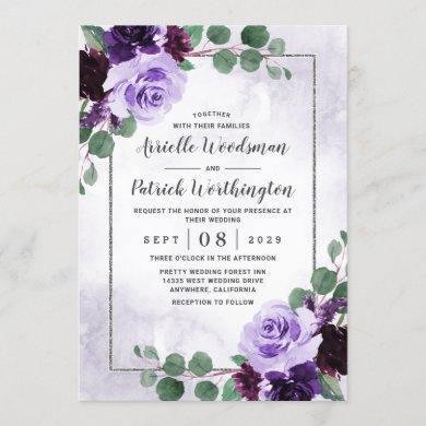 Elegant Airy Boho Floral Purple and Silver Wedding Invitation