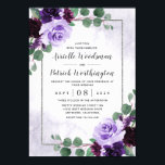 "Elegant Airy Boho Floral Purple and Silver Wedding Invitation<br><div class=""desc"">Features eucalyptus sprigs and other botanical leaves over a printed silver border that's also decorated with elegant peonies,  roses and other floral elements in various light and dark shades of purple.  The background is a dusty purple watercolor wash.</div>"
