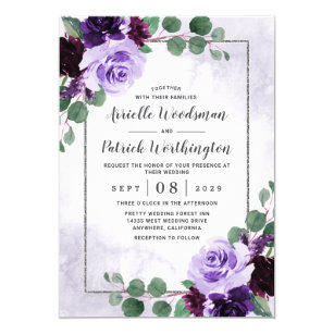 Personalized Wedding Invitations Cards Silver Frame Floral Purple Rose Flower