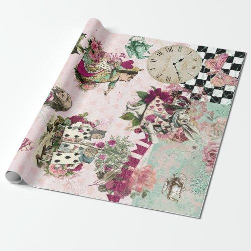 Elegant Alice in Wonderland Pink Wrapping Paper