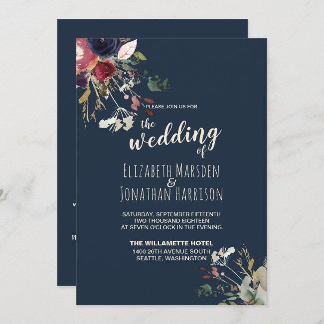 Elegant All In One Navy Burgundy Rose Gold Wedding Invitation