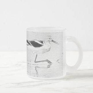 Elegant American Avocet Custom Sketch Frosted Glass Coffee Mug