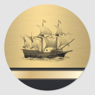 Elegant ancient ship gold monogram classic round sticker