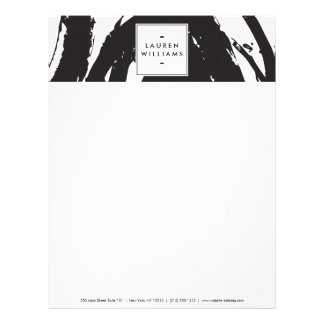 Elegant and Abstract Black and White Brushstrokes Letterhead