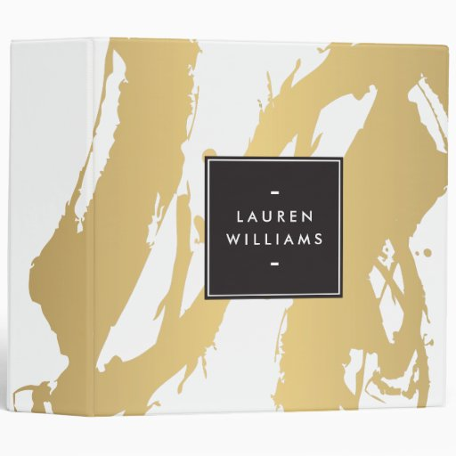 Elegant and Abstract Gold Brushstrokes Binder