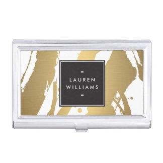 Elegant and Abstract Gold Brushstrokes Card Case Business Card Cases
