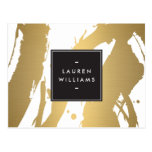 Elegant and Abstract Gold Brushstrokes II Postcard