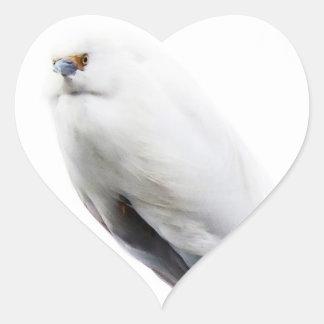 Elegant and Beautiful Snowy Egret Heart Sticker