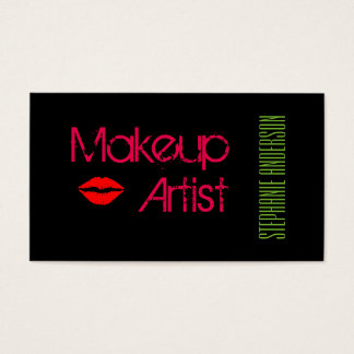 Elegant and Bold Makeup Artist Business Card