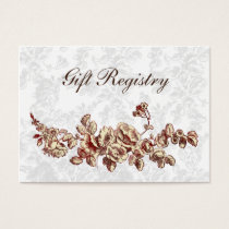 Elegant and Chic Ivory Red Vintage Floral Wedding Business Card