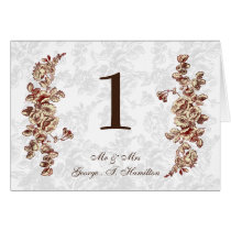 Elegant and Chic Ivory Red Vintage Floral Wedding Card
