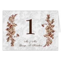 Elegant and Chic Ivory Red Vintage Floral Wedding Card
