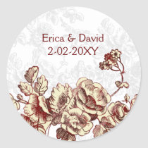 Elegant and Chic Ivory Red Vintage Floral Wedding Classic Round Sticker