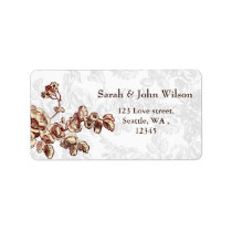 Elegant and Chic Ivory Red Vintage Floral Wedding Label