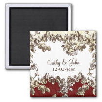 Elegant and Chic Ivory Red Vintage Floral Wedding Magnet