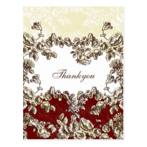 Elegant and Chic Ivory Red Vintage Floral Wedding Postcard
