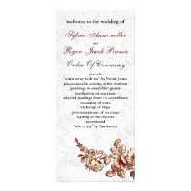 Elegant and Chic Ivory Red Vintage Floral Wedding Rack Card