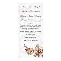Elegant and Chic Ivory Red Vintage Floral Wedding Rack Card