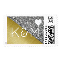 elegant and chic monogrammed wedding postage