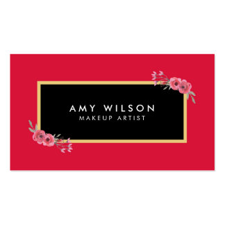 Elegant and Chic Pink Floral Makeup Artist Business Card
