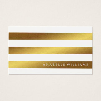 Elegant and Chic White Faux Gold Foil Business Card