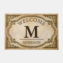 Elegant and Classic Vintage Look Monogram Initials Doormat