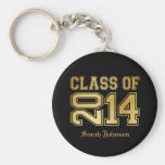 Elegant and Classy Black and Gold Class of 2014 Keychain