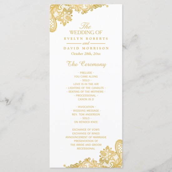 Elegant and Classy Gold Lace Wedding Program