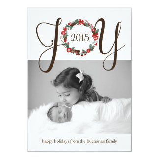 Elegant and Classy Joy Wreath Photo Card Design