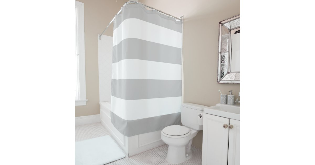 Elegant And Classy Light Grey And White Stripes Shower Curtain - Gray and white striped shower curtain