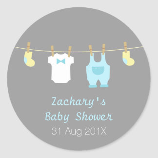 Elegant and Cute Baby Boy Clothes, Baby Shower Classic Round Sticker