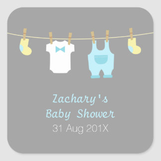Elegant and Cute Baby Boy Clothes, Baby Shower Square Sticker