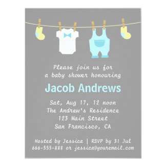 Elegant and Cute Baby Boy Shower, Blue and Grey 4.25x5.5 Paper Invitation Card
