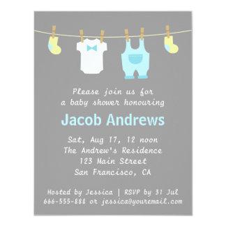 Elegant and Cute Baby Boy Shower, Blue and Grey Custom Invitation