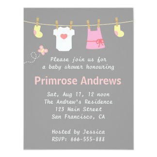 """Elegant and Cute Girl Baby Shower, Grey background 4.25"""" X 5.5"""" Invitation Card"""