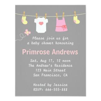 Elegant and Cute Girl Baby Shower, Grey Chevron 4.25x5.5 Paper Invitation Card