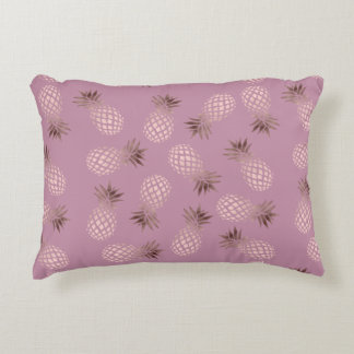Elegant and cute rose gold pineapple pattern accent pillow