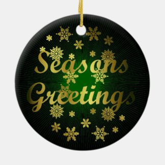Elegant and Dramatic Seasons Greetings Double-Sided Ceramic Round Christmas Ornament