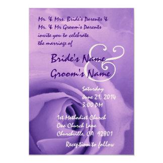 Elegant and Dreamy Purple Rose Wedding Metallic Card