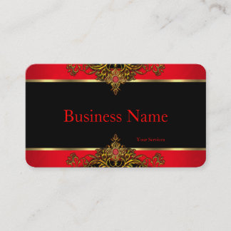Elegant and Elite Regal Red Black and Gold Gem Business Card