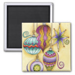 Elegant and Fancy Christmas Ornaments Hanging Fridge Magnets
