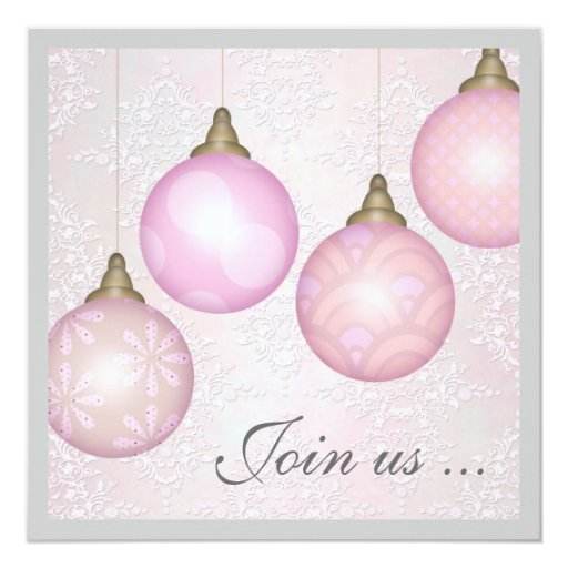 Elegant and Festive Christmas Ornaments Party Card