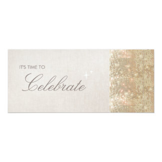 Elegant and Festive Sparkly Gold Sequins Party 4x9.25 Paper Invitation Card