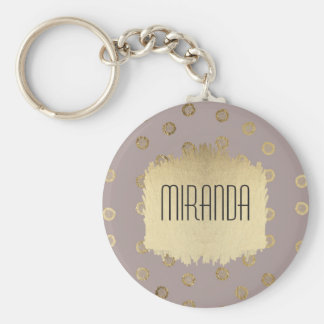 Elegant and Girly Faux Gold Glitter Dots Beige Keychain