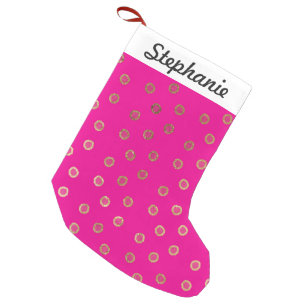 Elegant And Y Faux Gold Glitter Dots Hot Pink Small Christmas Stocking